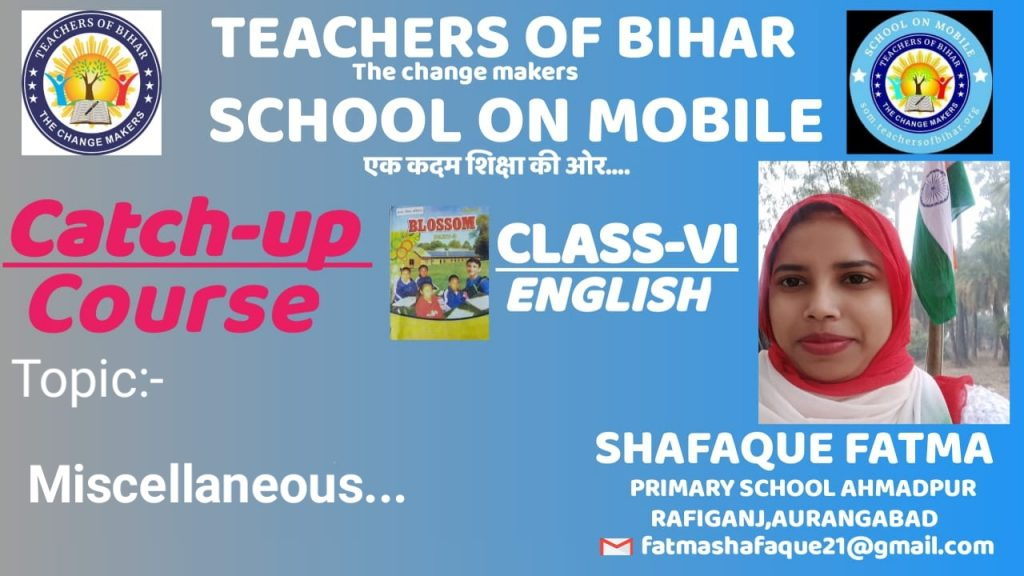 Catch-up course | 29th  Day | class VI | subject English  | Lesson Read and enjoy |Topic  Miscellaneous  |