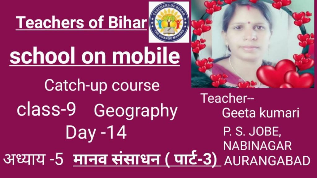 catch-up course l Date-01.06 2021 l Day-14th l class-9 l subject-geography l chapter- manav sansadhan
